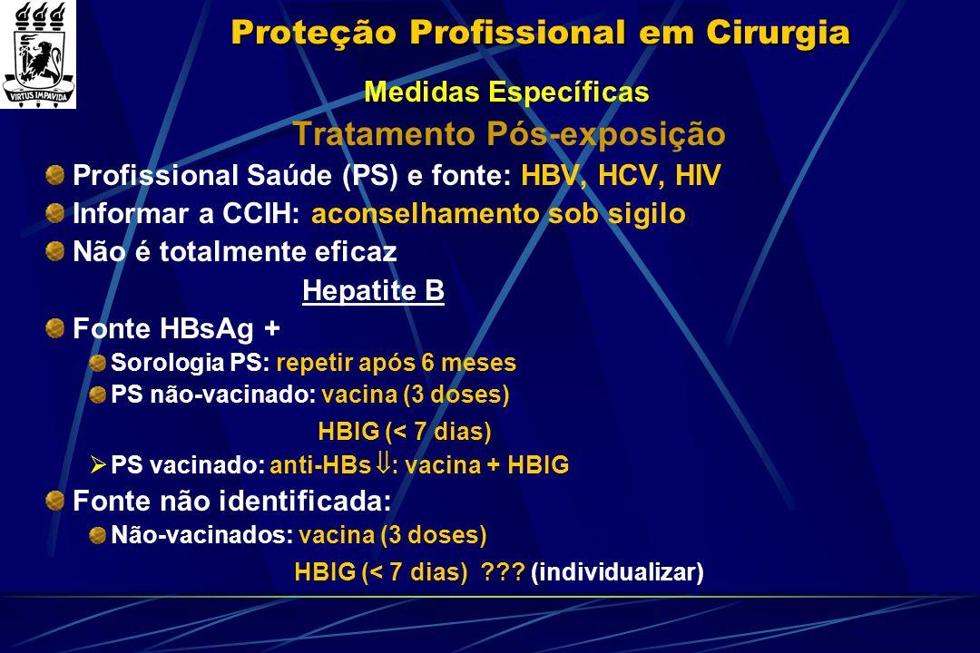 Proteção Profissional em Cirurgia Medidas Específicas Tratamento Pós-exposição Profissional Saúde (PS) e fonte: HBV, HCV, HIV Informar a CCIH: aconsel