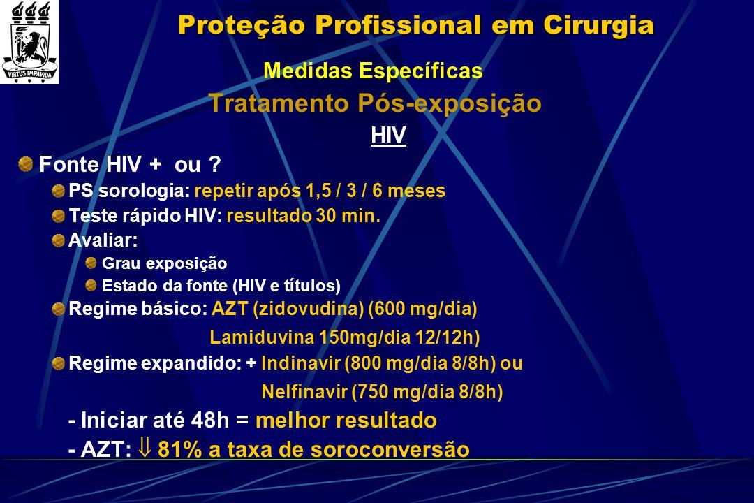 Proteção Profissional em Cirurgia Medidas Específicas Tratamento Pós-exposição HIV Fonte HIV + ou ? PS sorologia: repetir após 1,5 / 3 / 6 meses Teste