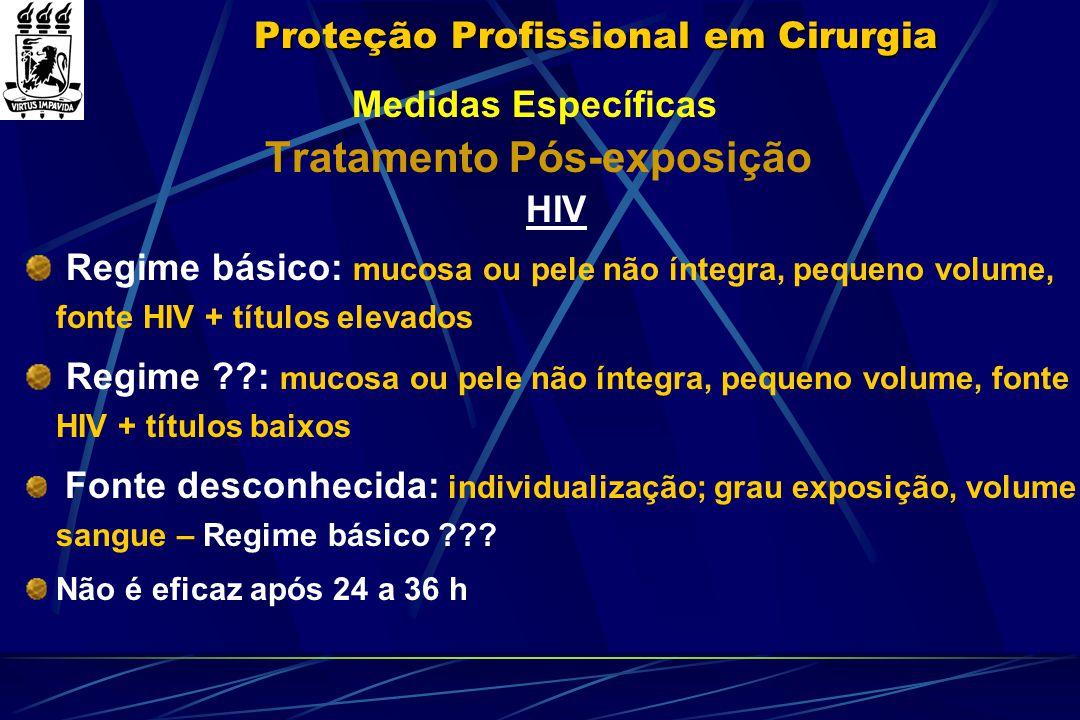 Proteção Profissional em Cirurgia Medidas Específicas Tratamento Pós-exposição HIV Regime básico: mucosa ou pele não íntegra, pequeno volume, fonte HI