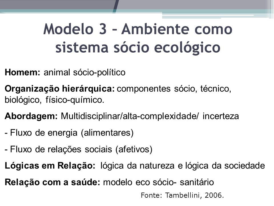 Modelo 3 – Ambiente como sistema sócio ecológico Homem: animal sócio-político Organização hierárquica: componentes sócio, técnico, biológico, físico-químico.
