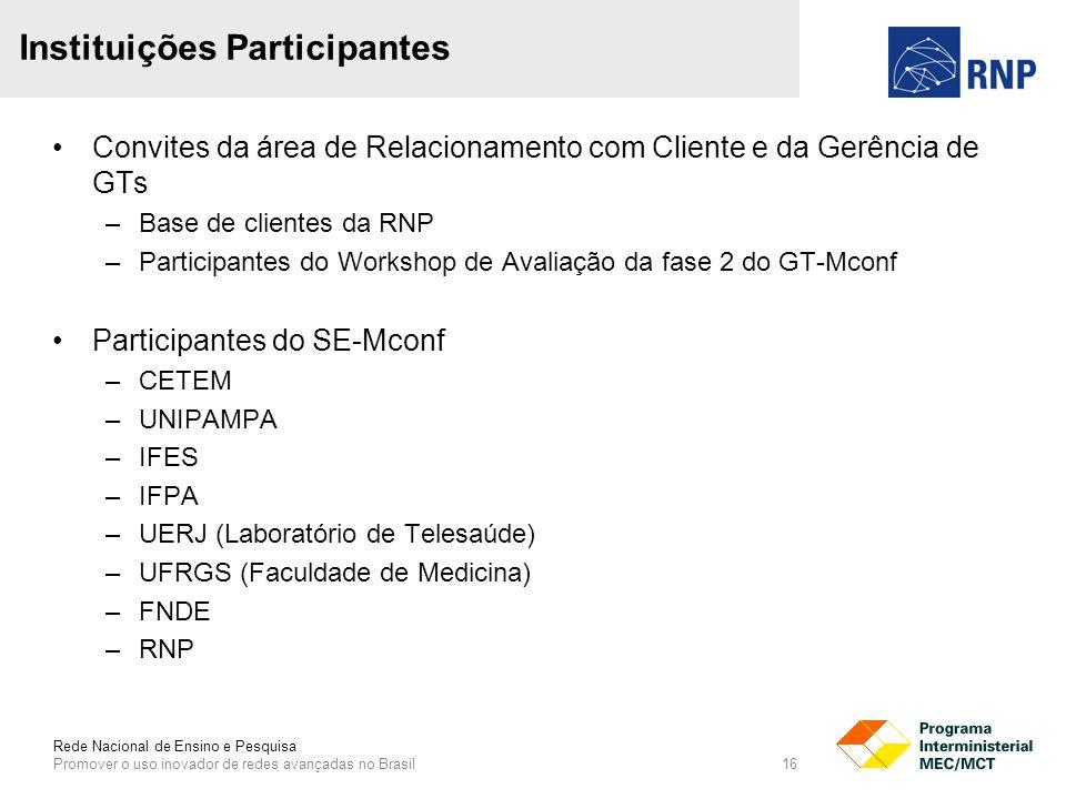 Rede Nacional de Ensino e Pesquisa Promover o uso inovador de redes avançadas no Brasil 16 Convites da área de Relacionamento com Cliente e da Gerência de GTs –Base de clientes da RNP –Participantes do Workshop de Avaliação da fase 2 do GT-Mconf Participantes do SE-Mconf –CETEM –UNIPAMPA –IFES –IFPA –UERJ (Laboratório de Telesaúde) –UFRGS (Faculdade de Medicina) –FNDE –RNP Instituições Participantes
