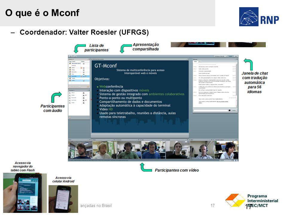 Rede Nacional de Ensino e Pesquisa Promover o uso inovador de redes avançadas no Brasil 17 O que é o Mconf 17 –Coordenador: Valter Roesler (UFRGS)