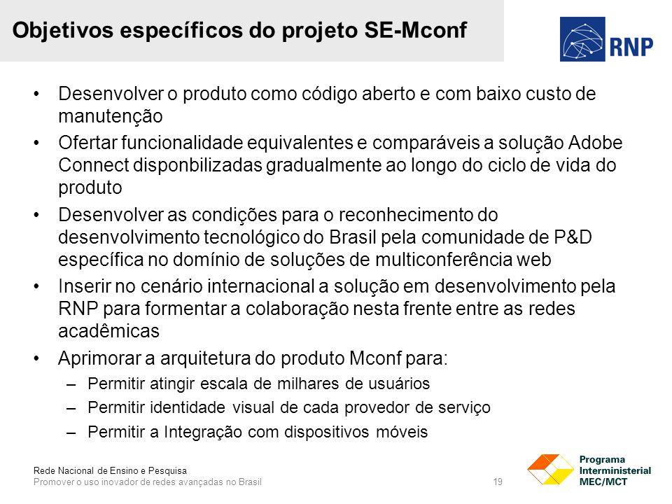 Rede Nacional de Ensino e Pesquisa Promover o uso inovador de redes avançadas no Brasil 19 Objetivos específicos do projeto SE-Mconf Desenvolver o produto como código aberto e com baixo custo de manutenção Ofertar funcionalidade equivalentes e comparáveis a solução Adobe Connect disponbilizadas gradualmente ao longo do ciclo de vida do produto Desenvolver as condições para o reconhecimento do desenvolvimento tecnológico do Brasil pela comunidade de P&D específica no domínio de soluções de multiconferência web Inserir no cenário internacional a solução em desenvolvimento pela RNP para formentar a colaboração nesta frente entre as redes acadêmicas Aprimorar a arquitetura do produto Mconf para: –Permitir atingir escala de milhares de usuários –Permitir identidade visual de cada provedor de serviço –Permitir a Integração com dispositivos móveis