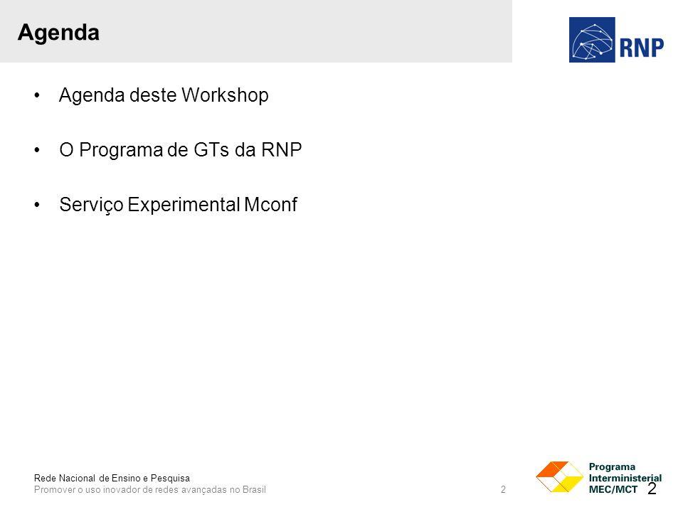Rede Nacional de Ensino e Pesquisa Promover o uso inovador de redes avançadas no Brasil 2 Agenda Agenda deste Workshop O Programa de GTs da RNP Serviço Experimental Mconf 2