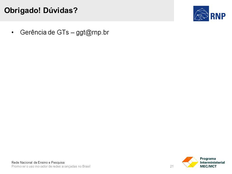 Rede Nacional de Ensino e Pesquisa Promover o uso inovador de redes avançadas no Brasil 21 Gerência de GTs – ggt@rnp.br Obrigado.