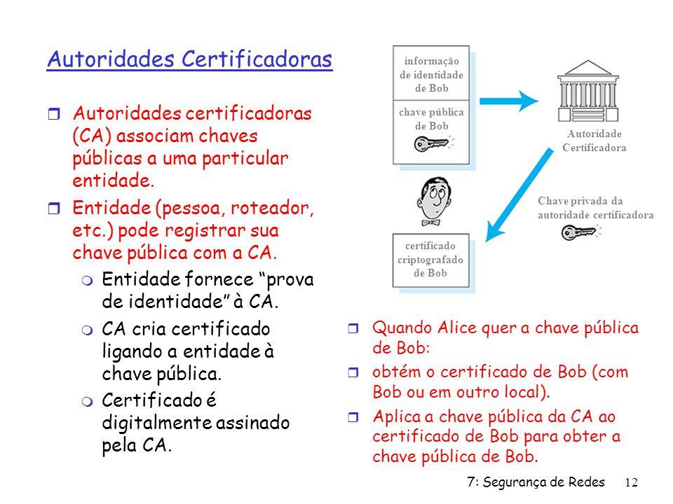 7: Segurança de Redes12 Autoridades Certificadoras r Autoridades certificadoras (CA) associam chaves públicas a uma particular entidade. r Entidade (p