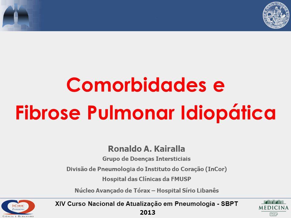Fibrose Pulmonar Idiopática Comorbidades - Cardíaca Doença Isquêmica – CATE Sobrevida na FPI Probabilidade de sobrevida ajustada para ICO, sexo, idade, CVF e DCO Nathan et al.