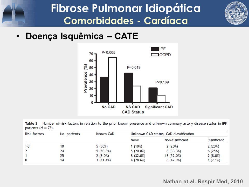 Fibrose Pulmonar Idiopática Comorbidades - Cardíaca Doença Isquêmica – CATE Nathan et al. Respir Med, 2010