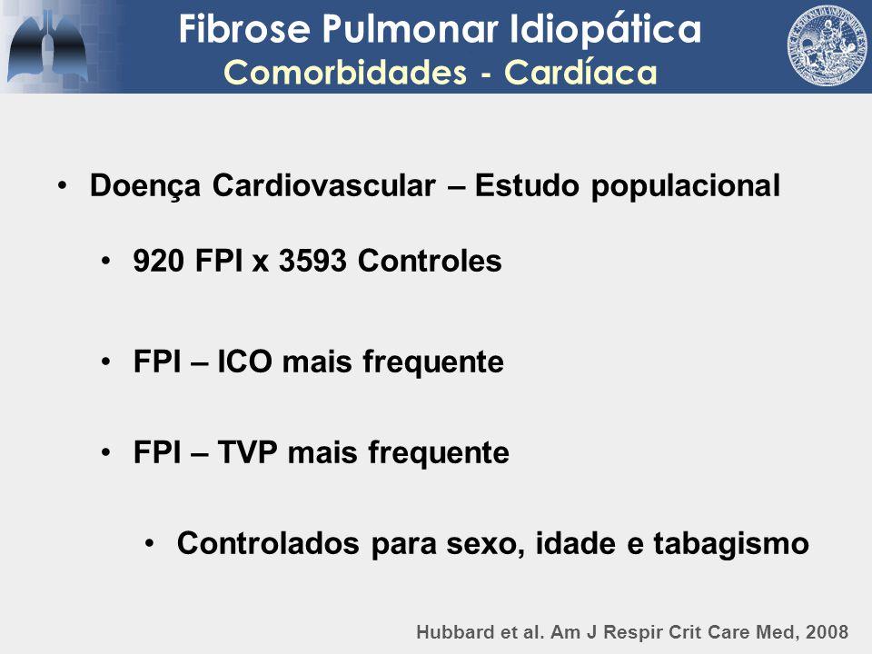 Fibrose Pulmonar Idiopática Comorbidades - Cardíaca Doença Cardiovascular – Estudo populacional 920 FPI x 3593 Controles FPI – ICO mais frequente FPI