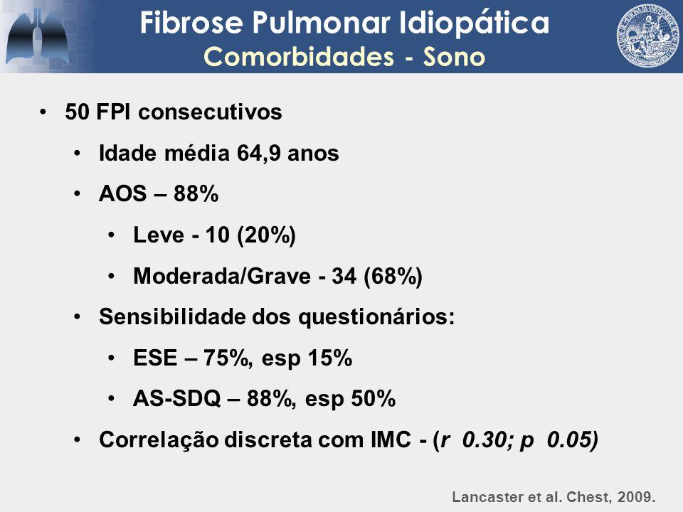 Fibrose Pulmonar Idiopática Comorbidades - Sono 50 FPI consecutivos Idade média 64,9 anos AOS – 88% Leve - 10 (20%) Moderada/Grave - 34 (68%) Sensibil