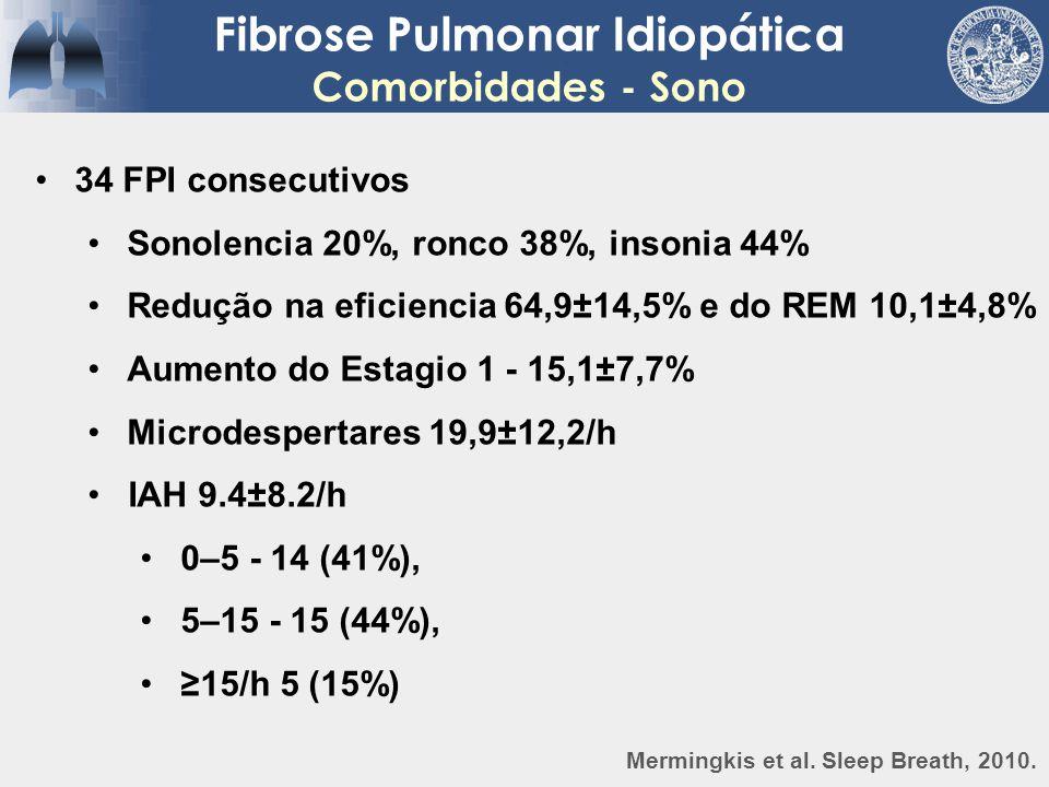 Fibrose Pulmonar Idiopática Comorbidades - Sono 34 FPI consecutivos Sonolencia 20%, ronco 38%, insonia 44% Redução na eficiencia 64,9±14,5% e do REM 1