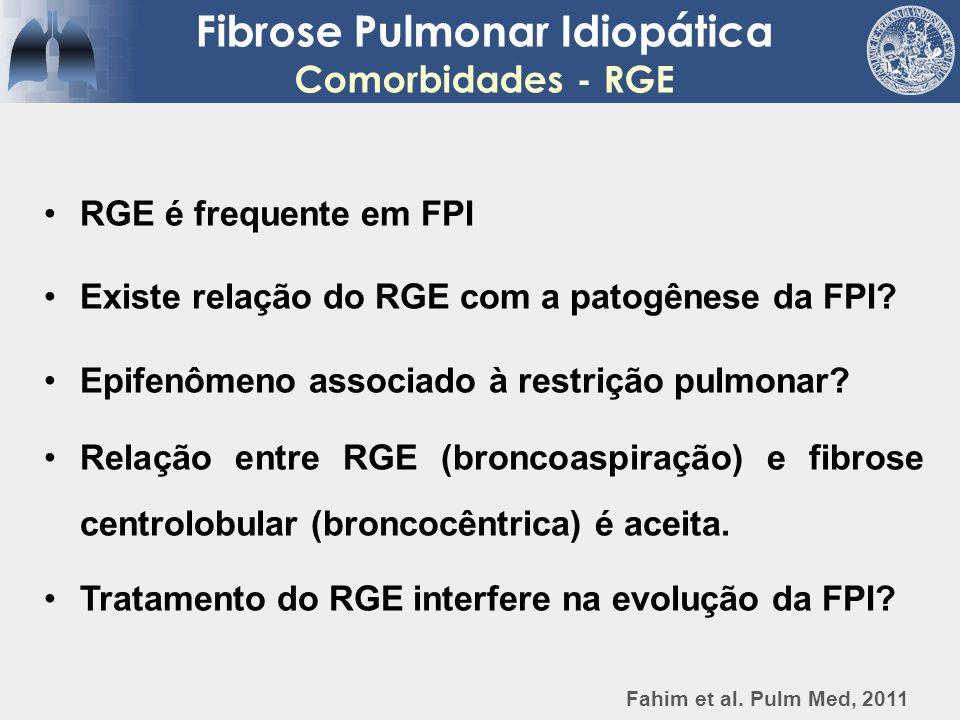 Fibrose Pulmonar Idiopática Comorbidades - RGE RGE é frequente em FPI Existe relação do RGE com a patogênese da FPI? Epifenômeno associado à restrição
