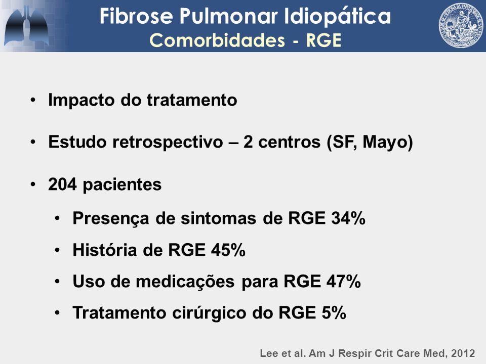 Fibrose Pulmonar Idiopática Comorbidades - RGE Impacto do tratamento Estudo retrospectivo – 2 centros (SF, Mayo) 204 pacientes Presença de sintomas de