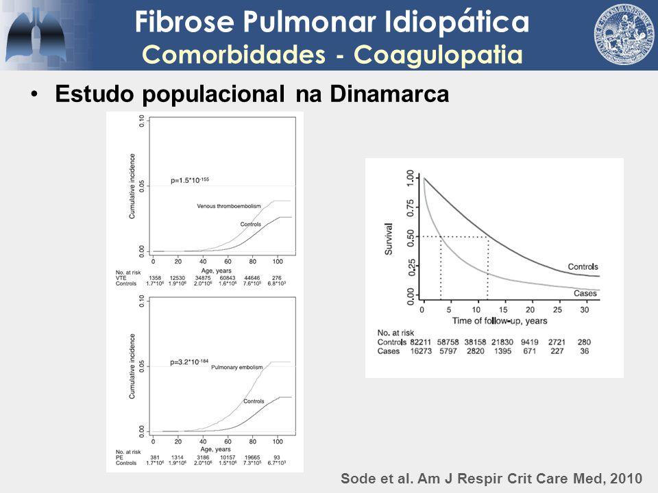 Fibrose Pulmonar Idiopática Comorbidades - Coagulopatia Estudo populacional na Dinamarca Sode et al. Am J Respir Crit Care Med, 2010