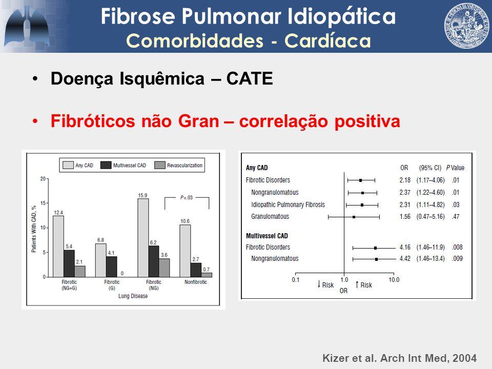 Fibrose Pulmonar Idiopática Comorbidades - Cardíaca Doença Isquêmica – CATE Fibróticos não Gran – correlação positiva Kizer et al. Arch Int Med, 2004