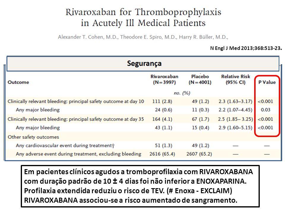 N Engl J Med 2013;368:513-23. Em pacientes clínicos agudos a tromboprofilaxia com RIVAROXABANA com duração padrão de 10 ± 4 dias foi não inferior a EN