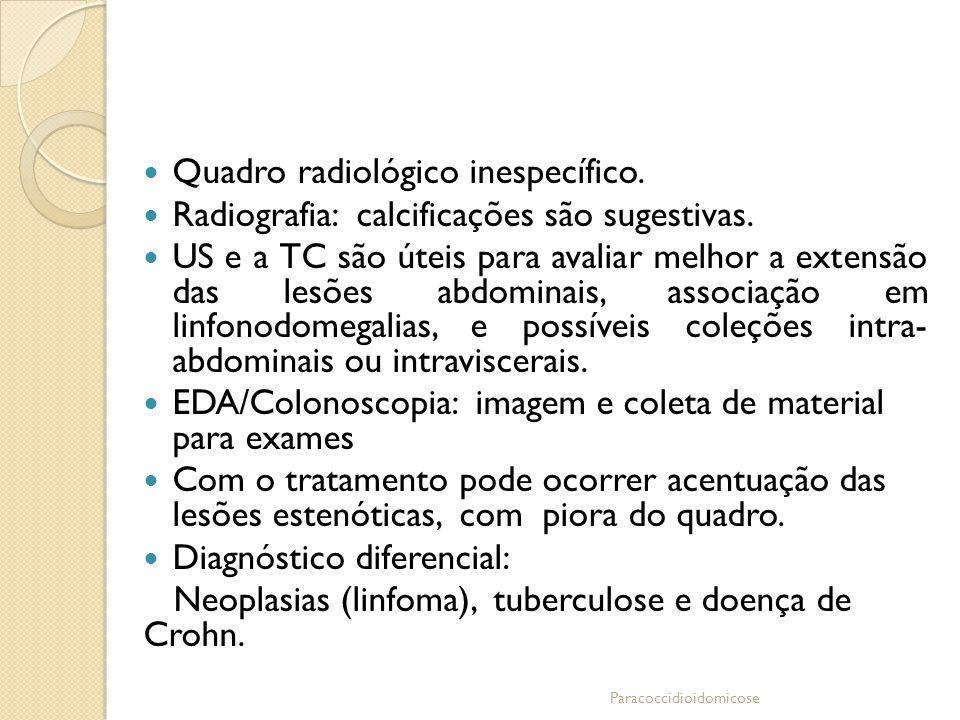 Quadro radiológico inespecífico. Radiografia: calcificações são sugestivas. US e a TC são úteis para avaliar melhor a extensão das lesões abdominais,