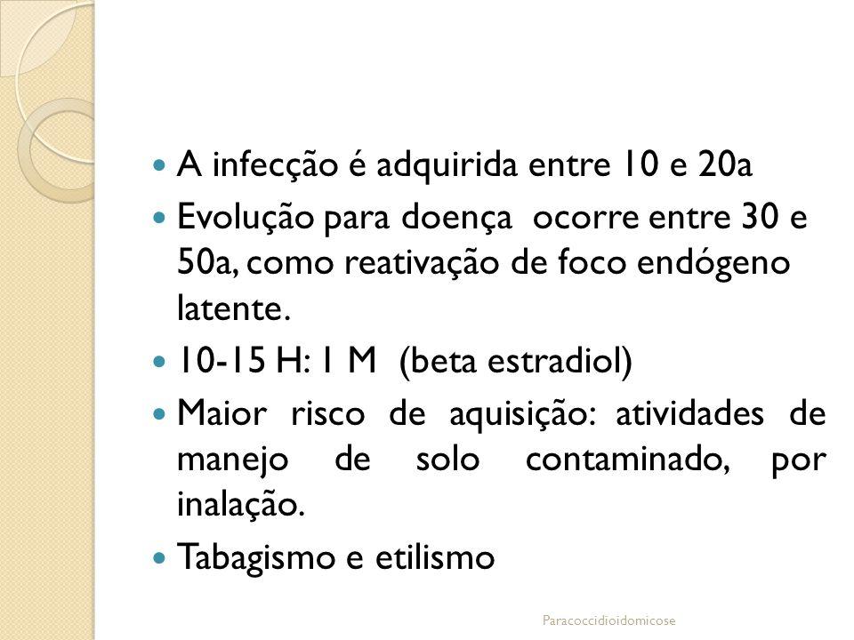 A infecção é adquirida entre 10 e 20a Evolução para doença ocorre entre 30 e 50a, como reativação de foco endógeno latente. 10-15 H: 1 M (beta estradi
