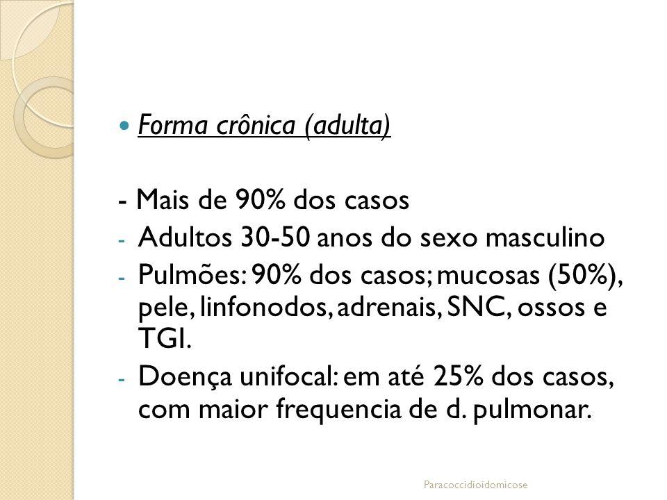 Forma crônica (adulta) - Mais de 90% dos casos - Adultos 30-50 anos do sexo masculino - Pulmões: 90% dos casos; mucosas (50%), pele, linfonodos, adren