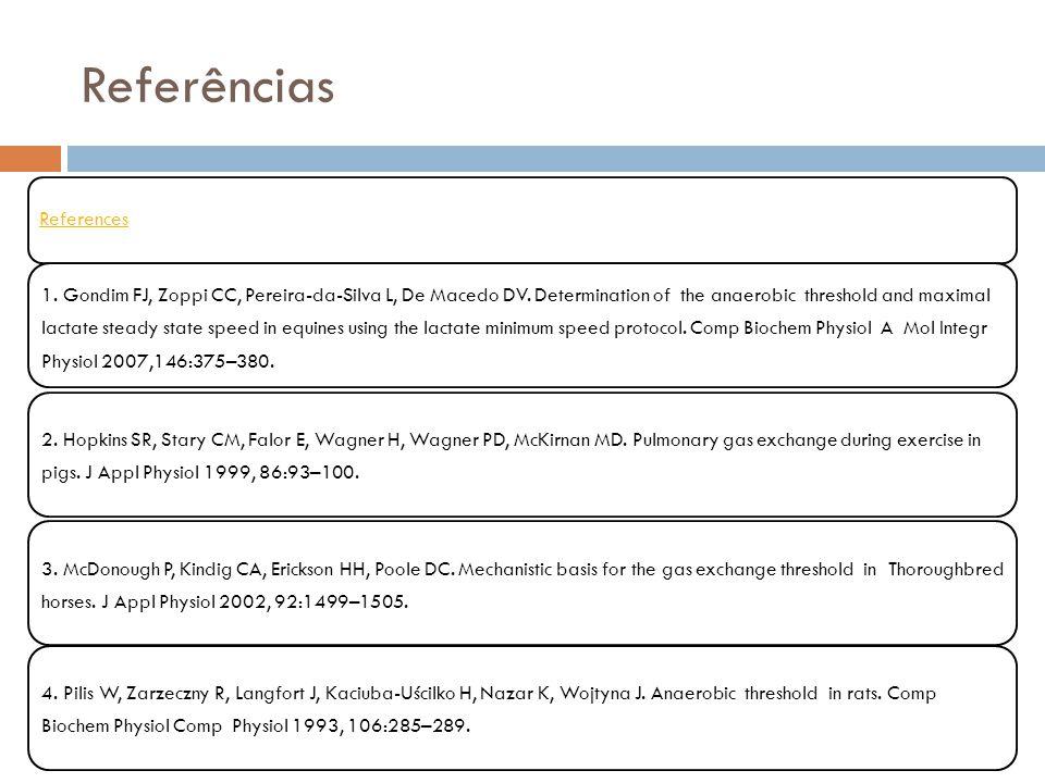 References 1. Gondim FJ, Zoppi CC, Pereira-da-Silva L, De Macedo DV. Determination of the anaerobic threshold and maximal lactate steady state speed i