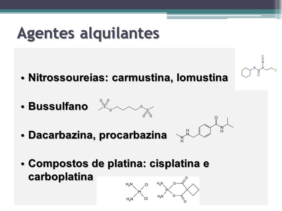 Agentes alquilantes Nitrossoureias: carmustina, lomustina Nitrossoureias: carmustina, lomustina Bussulfano Bussulfano Dacarbazina, procarbazina Dacarb