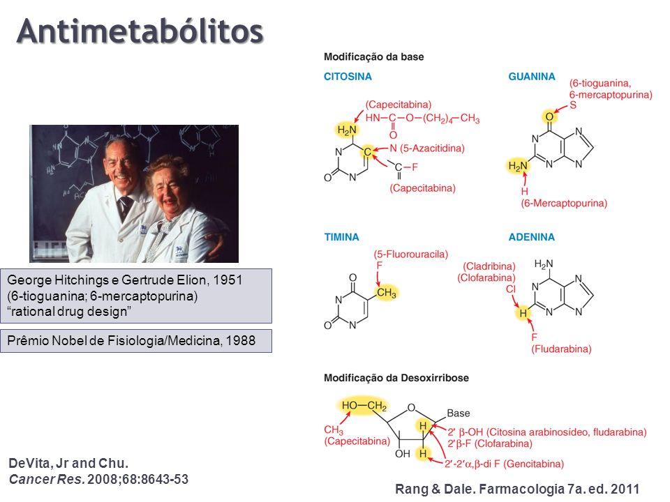 """Antimetabólitos George Hitchings e Gertrude Elion, 1951 (6-tioguanina; 6-mercaptopurina) """"rational drug design"""" Prêmio Nobel de Fisiologia/Medicina, 1"""