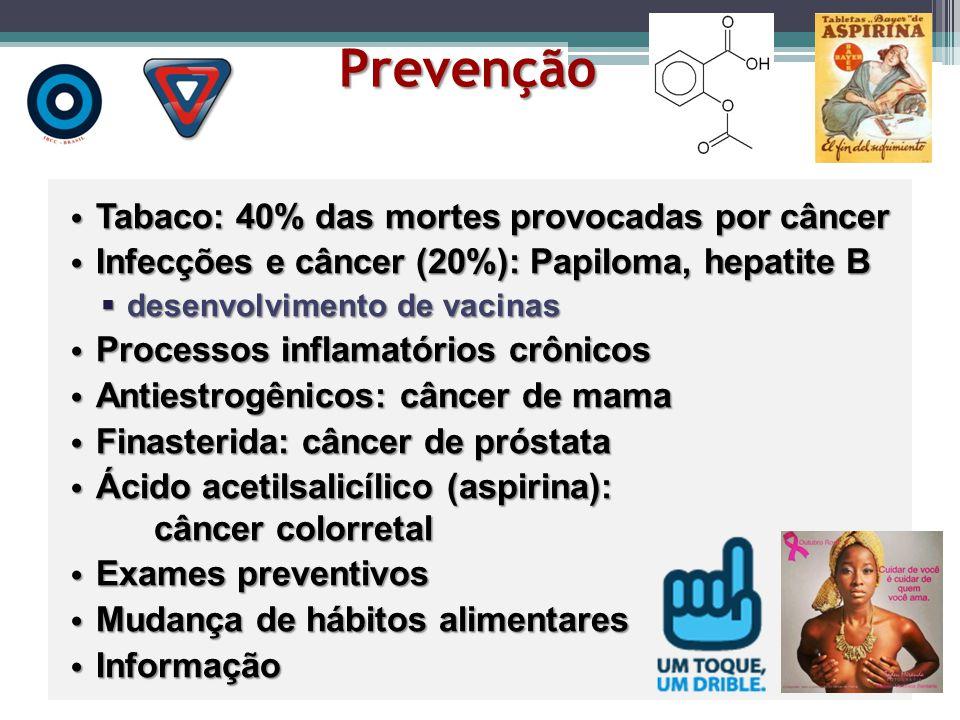 Prevenção Tabaco: 40% das mortes provocadas por câncer Tabaco: 40% das mortes provocadas por câncer Infecções e câncer (20%): Papiloma, hepatite B Inf