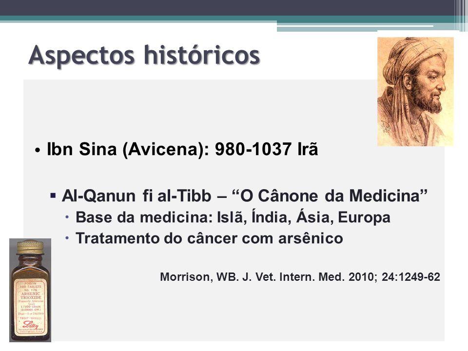 """Aspectos históricos Ibn Sina (Avicena): 980-1037 Irã   Al-Qanun fi al-Tibb – """"O Cânone da Medicina""""   Base da medicina: Islã, Índia, Ásia, Europa"""