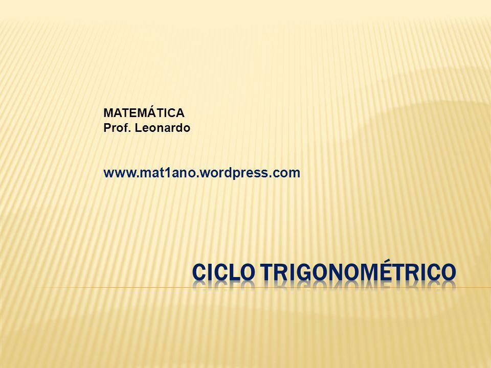 MATEMÁTICA Prof. Leonardo www.mat1ano.wordpress.com