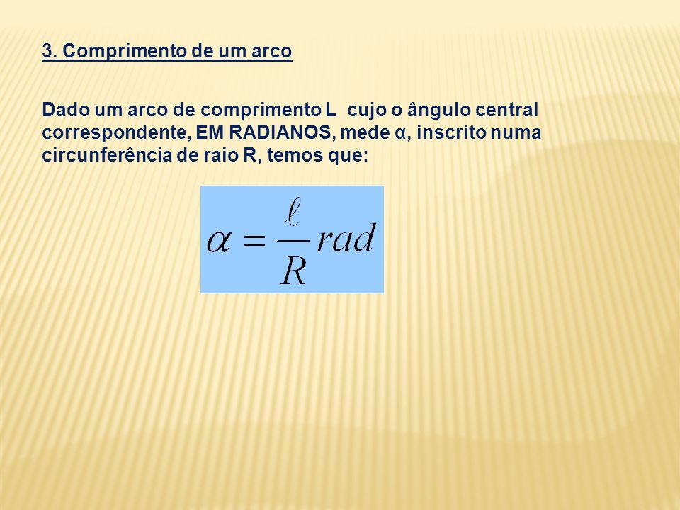 3. Comprimento de um arco Dado um arco de comprimento L cujo o ângulo central correspondente, EM RADIANOS, mede α, inscrito numa circunferência de rai