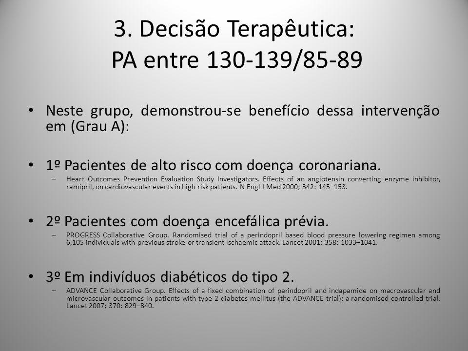 Neste grupo, demonstrou-se benefício dessa intervenção em (Grau A): 1º Pacientes de alto risco com doença coronariana.