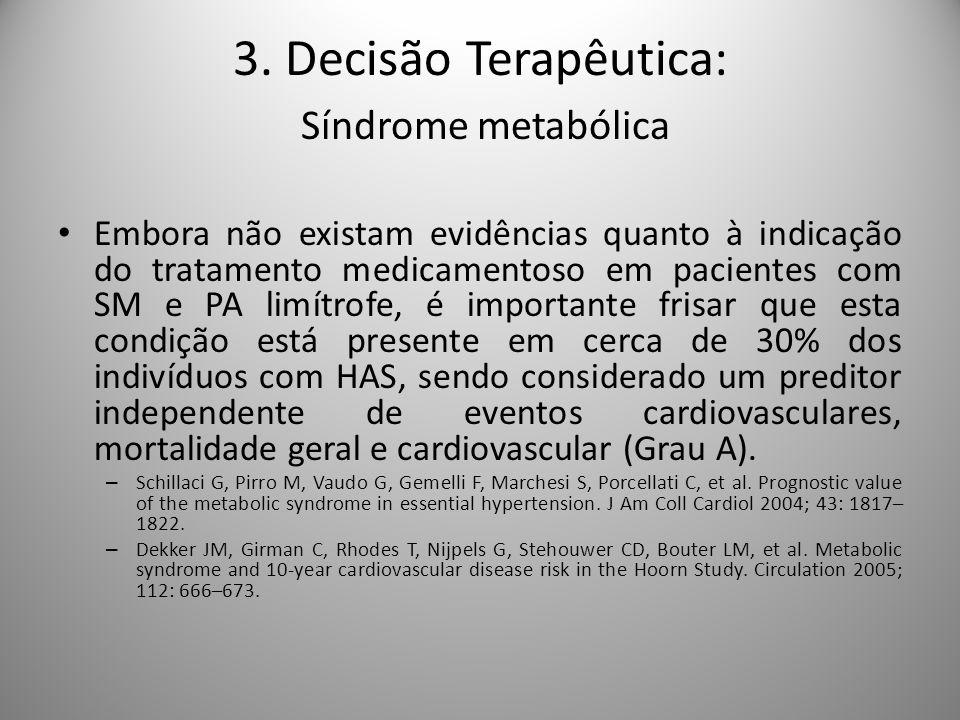 Embora não existam evidências quanto à indicação do tratamento medicamentoso em pacientes com SM e PA limítrofe, é importante frisar que esta condição está presente em cerca de 30% dos indivíduos com HAS, sendo considerado um preditor independente de eventos cardiovasculares, mortalidade geral e cardiovascular (Grau A).