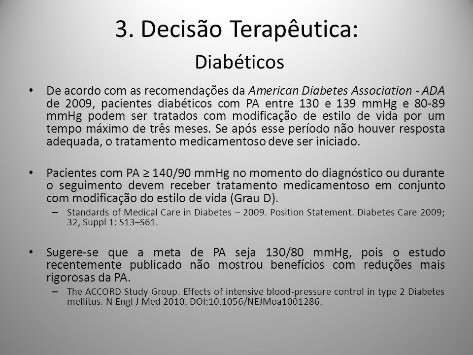 De acordo com as recomendações da American Diabetes Association - ADA de 2009, pacientes diabéticos com PA entre 130 e 139 mmHg e 80-89 mmHg podem ser tratados com modificação de estilo de vida por um tempo máximo de três meses.