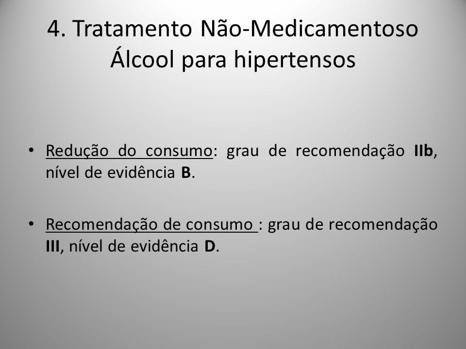 Redução do consumo: grau de recomendação IIb, nível de evidência B.