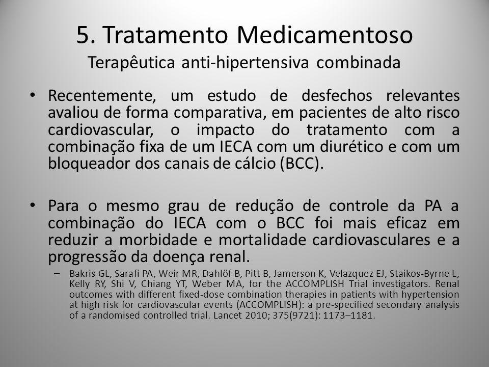 Recentemente, um estudo de desfechos relevantes avaliou de forma comparativa, em pacientes de alto risco cardiovascular, o impacto do tratamento com a combinação fixa de um IECA com um diurético e com um bloqueador dos canais de cálcio (BCC).