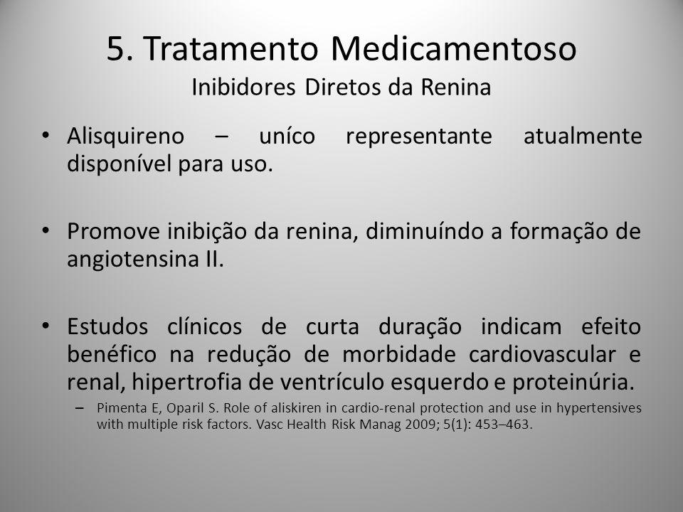 5. Tratamento Medicamentoso Inibidores Diretos da Renina Alisquireno – uníco representante atualmente disponível para uso. Promove inibição da renina,