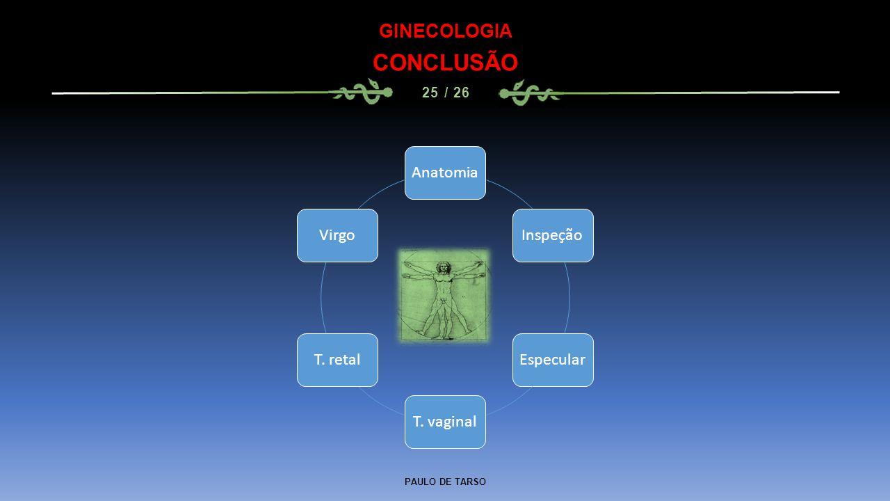 PAULO DE TARSO GINECOLOGIA CONCLUSÃO 25 / 26 AnatomiaInspeçãoEspecularT. vaginalT. retalVirgo