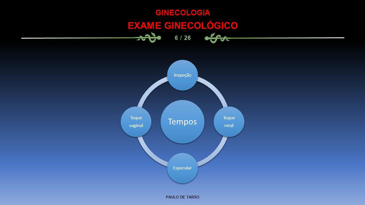 PAULO DE TARSO GINECOLOGIA EXAME GINECOLÓGICO 6 / 26 Tempos Inspeção Toque retal Especular Toque vaginal