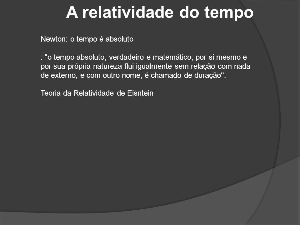 A relatividade do tempo Newton: o tempo é absoluto :