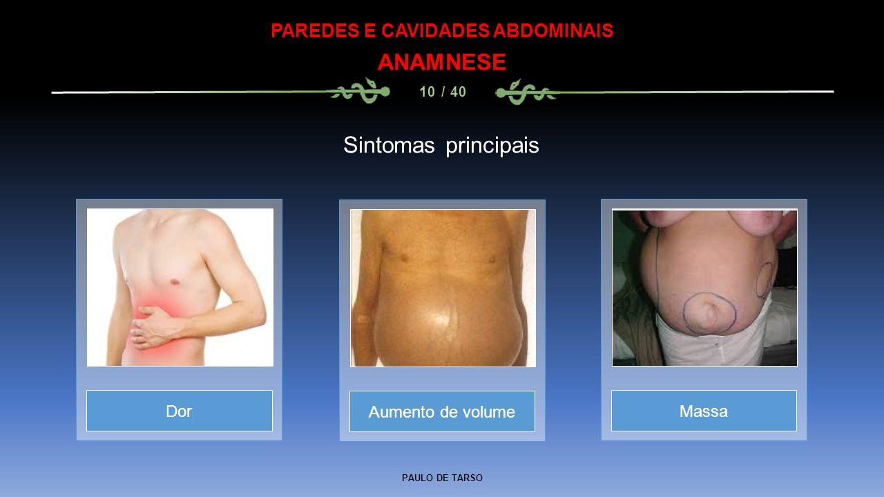 PAULO DE TARSO PAREDES E CAVIDADES ABDOMINAIS ANAMNESE 10 / 40 Sintomas principais Aumento de volumeDorMassa