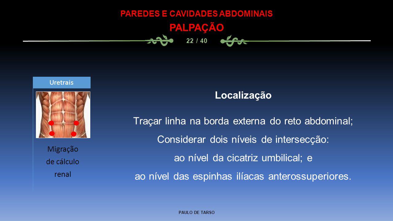 PAULO DE TARSO PAREDES E CAVIDADES ABDOMINAIS PALPAÇÃO 22 / 40 Localização Traçar linha na borda externa do reto abdominal; Considerar dois níveis de intersecção: ao nível da cicatriz umbilical; e ao nível das espinhas ilíacas anterossuperiores.