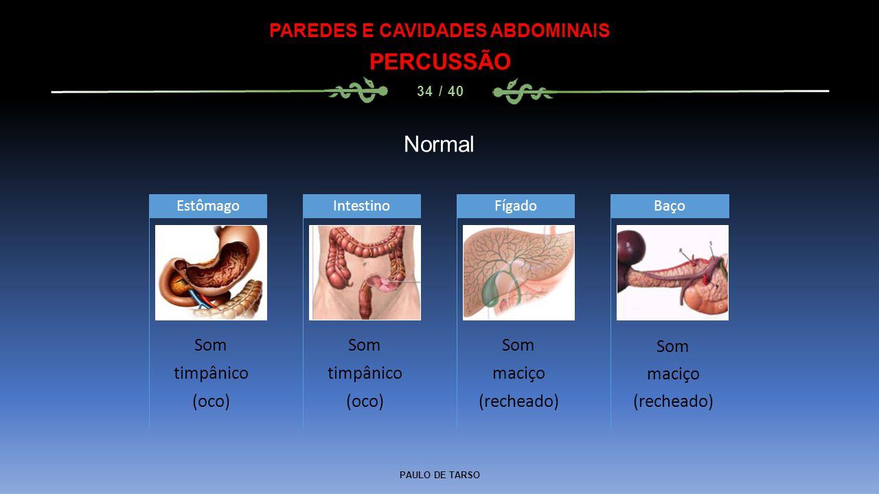 PAULO DE TARSO PAREDES E CAVIDADES ABDOMINAIS PERCUSSÃO 34 / 40 Normal Som timpânico (oco) Estômago Som timpânico (oco) Intestino Som maciço (recheado) FígadoBaço Som maciço (recheado)