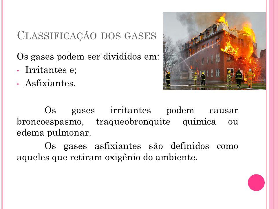 C LASSIFICAÇÃO DOS GASES Os gases podem ser divididos em: Irritantes e; Asfixiantes. Os gases irritantes podem causar broncoespasmo, traqueobronquite