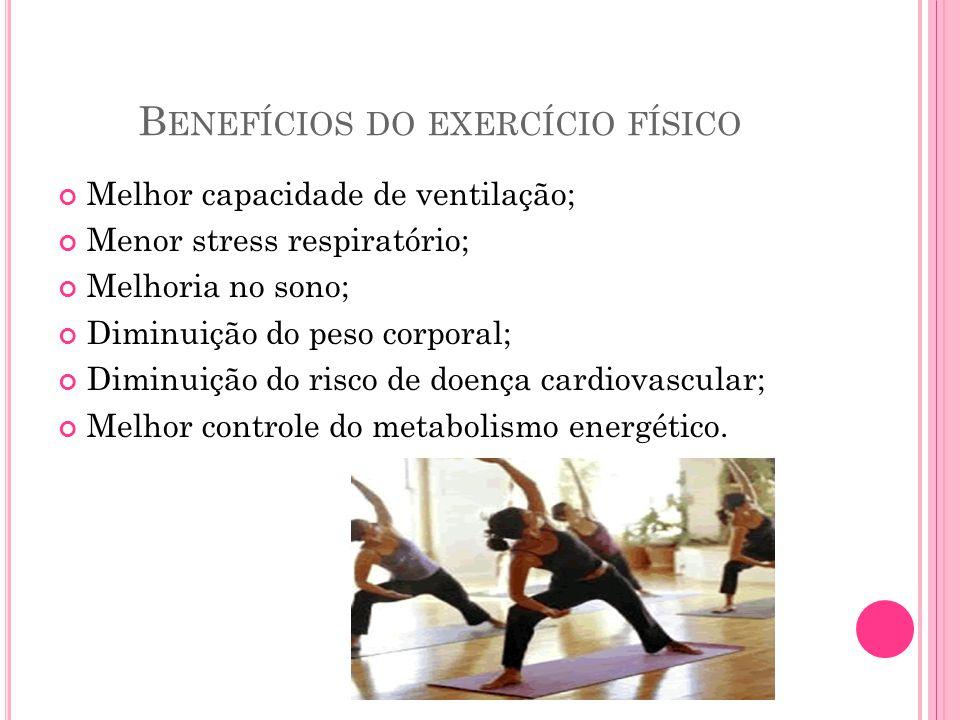 B ENEFÍCIOS DO EXERCÍCIO FÍSICO Melhor capacidade de ventilação; Menor stress respiratório; Melhoria no sono; Diminuição do peso corporal; Diminuição