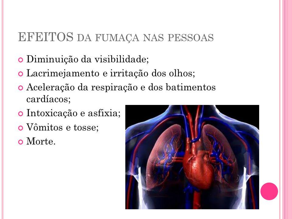 EFEITOS DA FUMAÇA NAS PESSOAS Diminuição da visibilidade; Lacrimejamento e irritação dos olhos; Aceleração da respiração e dos batimentos cardíacos; I