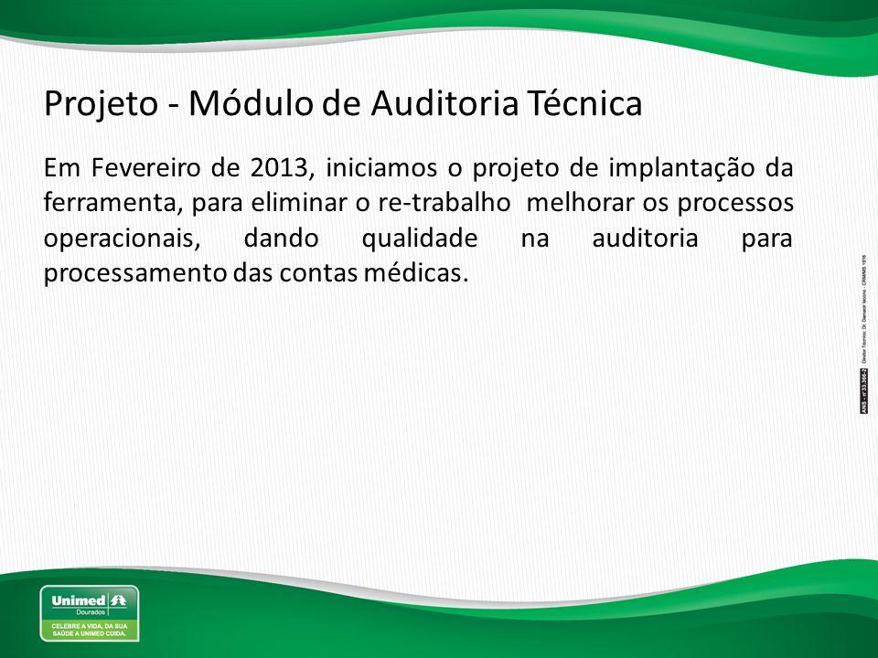 Projeto - Módulo de Auditoria Técnica Em Fevereiro de 2013, iniciamos o projeto de implantação da ferramenta, para eliminar o re-trabalho melhorar os