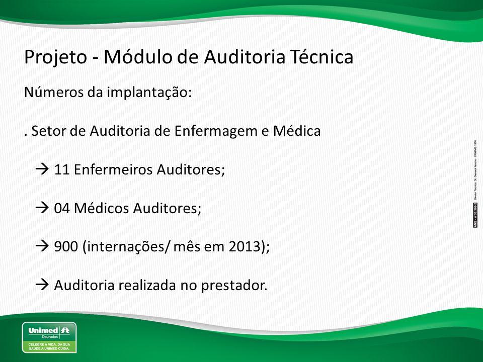 Projeto - Módulo de Auditoria Técnica Números da implantação:. Setor de Auditoria de Enfermagem e Médica  11 Enfermeiros Auditores;  04 Médicos Audi
