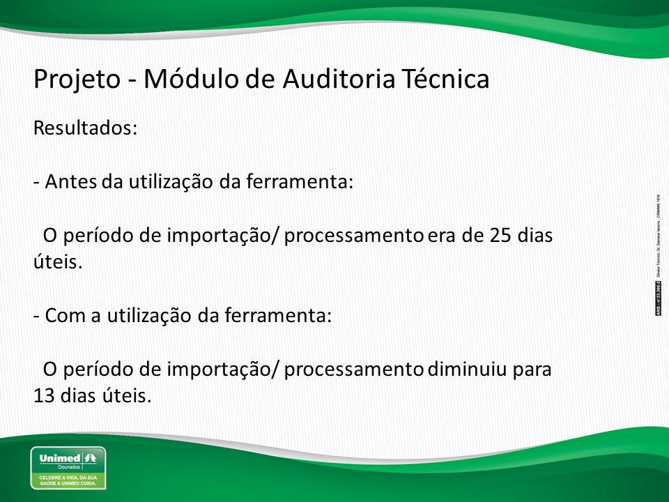 Projeto - Módulo de Auditoria Técnica Resultados: - Antes da utilização da ferramenta: O período de importação/ processamento era de 25 dias úteis. -