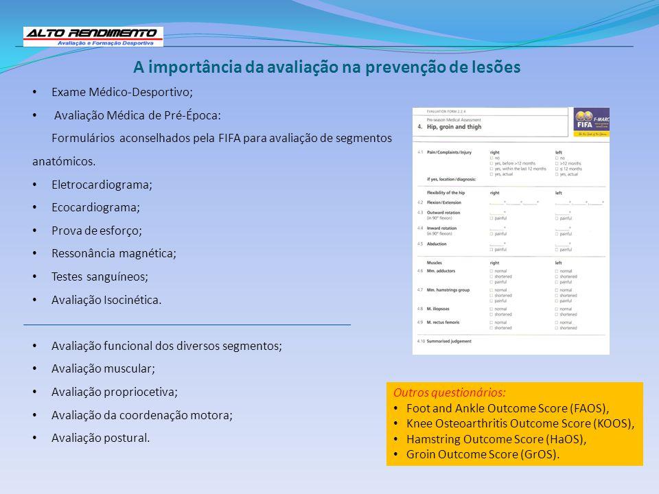 Exame Médico-Desportivo; Avaliação Médica de Pré-Época: Formulários aconselhados pela FIFA para avaliação de segmentos anatómicos. Eletrocardiograma;