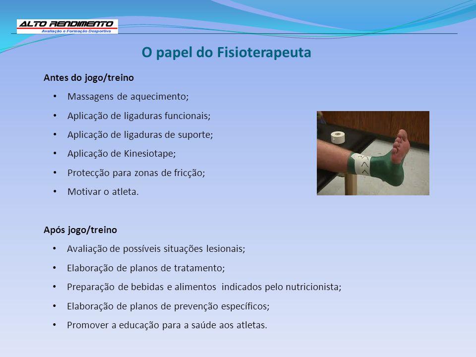 O papel do Fisioterapeuta Antes do jogo/treino Massagens de aquecimento; Aplicação de ligaduras funcionais; Aplicação de ligaduras de suporte; Aplicaç
